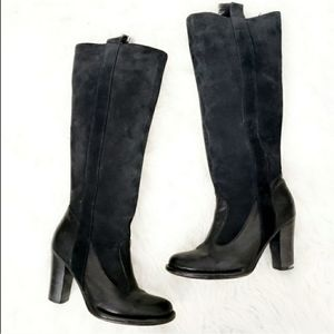 Frye Villager Pull on Black Suede Tall Riding Boot